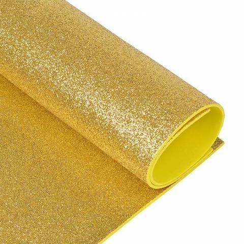 Глиттерный фоамиран. Цвет: светло-золотой