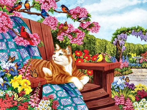 Картина раскраска по номерам 40x50 Кот греется в саду