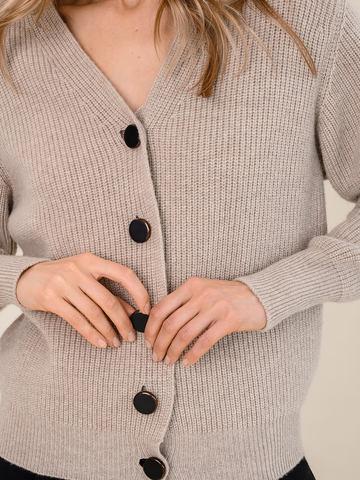 Женский жакет бежевого цвета из шерсти и кашемира - фото 3