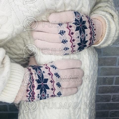 Перчатки со снежинками шерстяные  женские (цвет: бежевый)