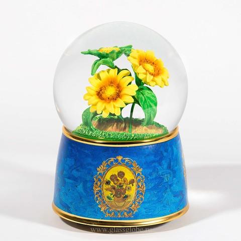 Стеклянный шар с блестками Подсолнухи