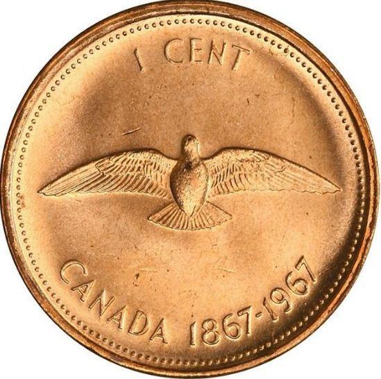 1 цент. 100 лет Конфедерации. Голубь. 1967 год. XF