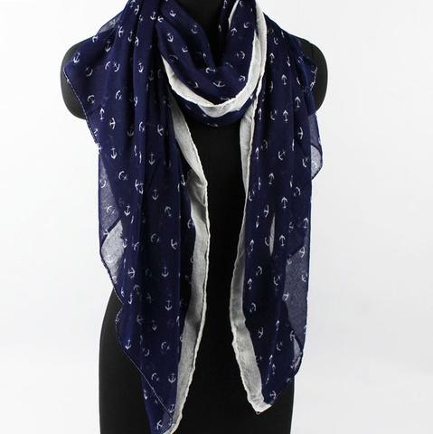 Летний шарфик с маленькими якорями (синий)