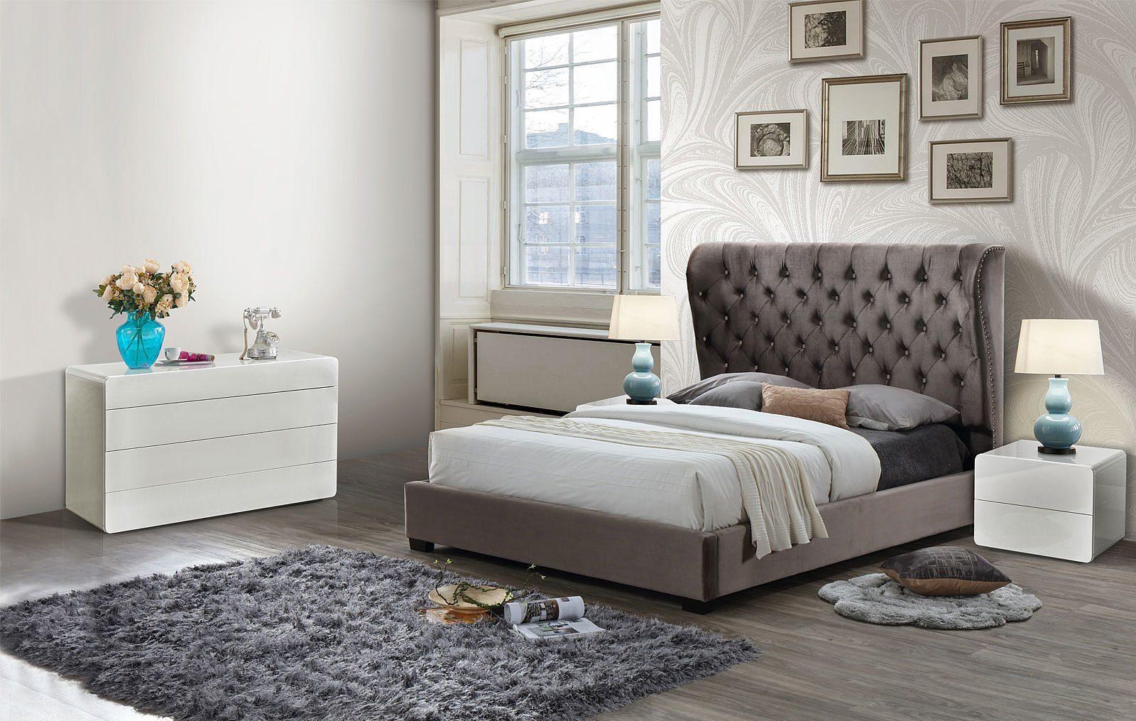 Кровать ESF INFI2971 темно-коричневая, Тумба прикроватная ESF NS103 белая и Комод ESF B103-DR белый
