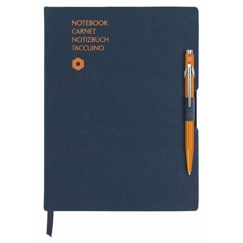 Записная книжка и ручка Carandache Office (8491.404) A5 192стр синяя и ручка 849 оранжевая