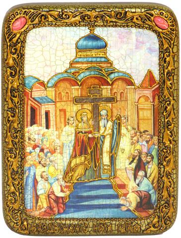 Инкрустированная икона Воздвижение Святого Креста Господня 20х15см на натуральном дереве, в подарочной коробке