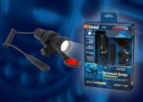 P-GL013-BB Black Фонарь Uniel-Off-road (серия Premium) Тактический «Choosing the tactics — 185», алюминиевый корпус, XP-E CREE LED, упаковка — цветной короб, 1 X CR123A в/к, цвет — черный