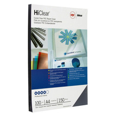 Обложки для переплета пластиковые GBC А4 150 мкм прозрачные глянцевые (100 штук в упаковке)