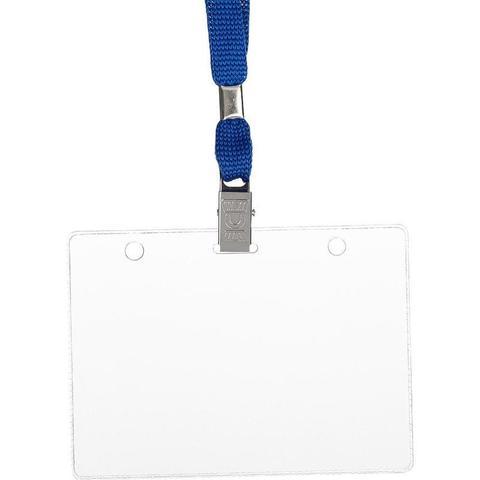 Бейдж Attache горизонтальный 120х87 мм с зажимом и синей тесьмой (10 штук в упаковке)