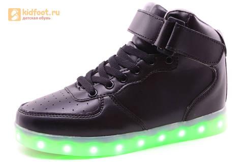 Светящиеся высокие кроссовки с USB зарядкой Fashion (Фэшн) на шнурках и липучках, цвет черный, светится вся подошва. Изображение 1 из 22.