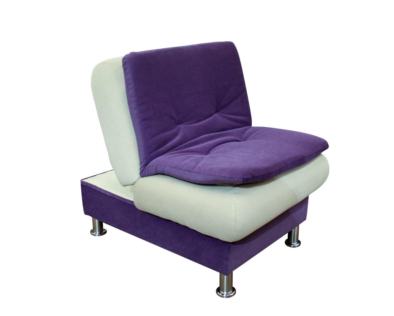 Пуф-кресло Сити в положении кресло, опоры бочонок хром
