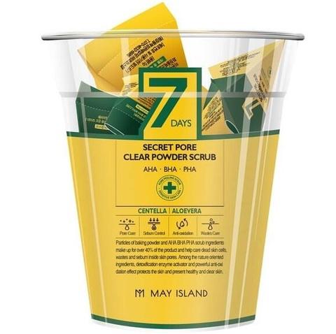 Скраб для лица c центеллой и алое вера 7days Secret pore clear powder scrub