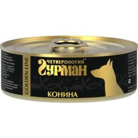 Четвероногий гурман консервы для собак конина натуральная в желе 100г