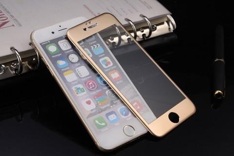 Защитное стекло на весь экран Style c алюминиевой рамкой для iPhone 6 Plus, 6s Plus (Золотое)
