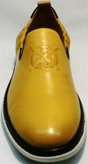 Желтые мужские туфли кожаные King West 053-1022 Yellow-White.