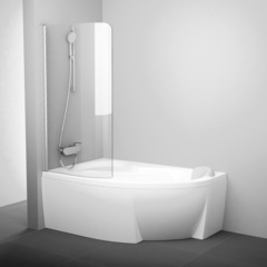 Шторка для ванны Ravak Rosa 160-170 L CVSK1 белая Transparent