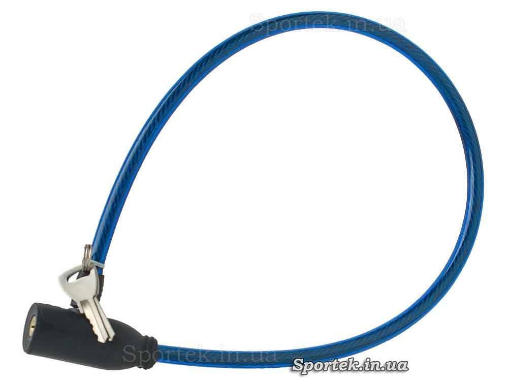 Велозамок з ключем на сталевому тросі 6 х 540 мм з синім вініловим покриттям