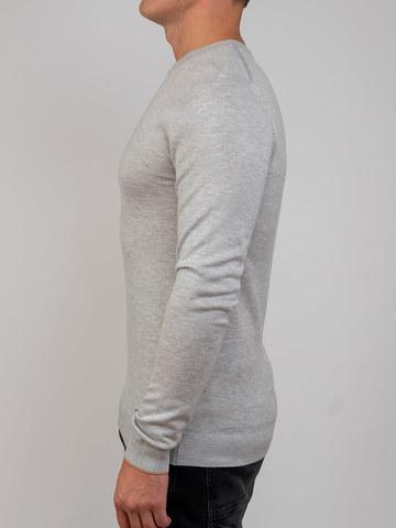 Мужской джемпер цвета серый меланж из шерсти и шелка - фото 4