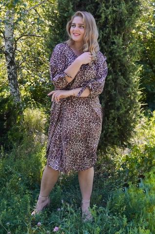 Алевтина. Нежное платье больших размеров. Леопард.
