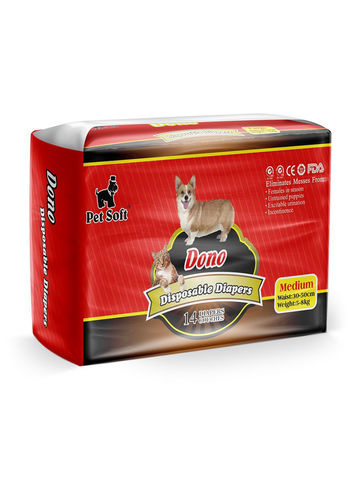 Dono одноразовые впитывающие подгузники для животных (размер M) 14 штук