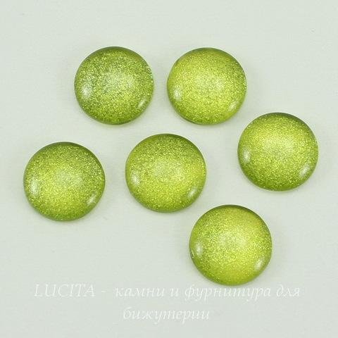 Кабошон стеклянный салатовый 12х4 мм ()