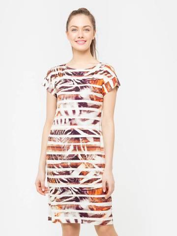Фото трикотажное платье без воротника с вырезом лодочка и цельнокроенным рукавом - Платье З205-223 (1)