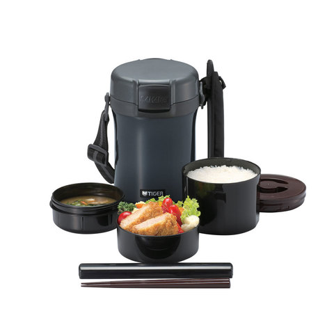 Термос для еды с контейнерами Tiger LWU-A (1,41 литра), темно-серый