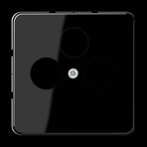 Накладка  двойная/тройная для антенных розеток. Цвет Чёрный. JUNG CD. CD561SATSW