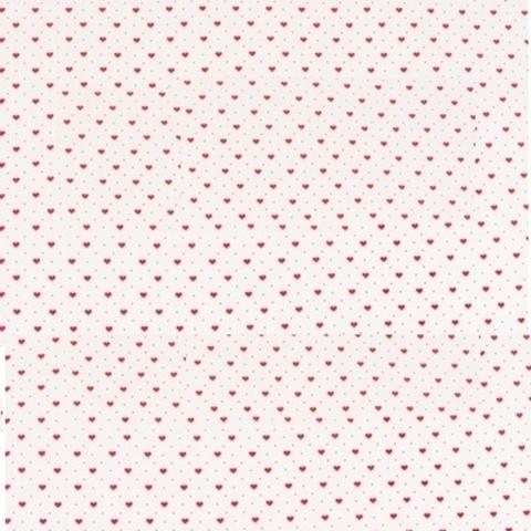 Бумага белая крафт 40гр/м2, 70см x 10м, Мелкие сердца, красный