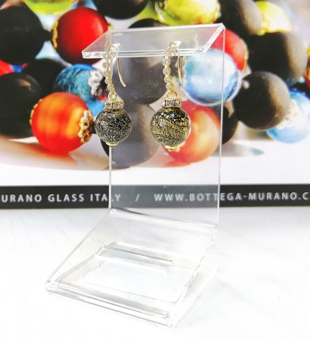 Серьги из муранского стекла со стразами Allegra Ca'D'oro Gold Black CC064O