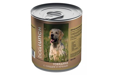 ДОГ ЛАНЧ консервы для собак (говядина с сердцем и печенью в желе) 750г