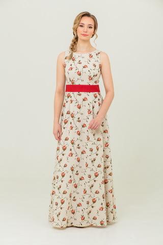 Платье льняное в пол Зайцевская роза