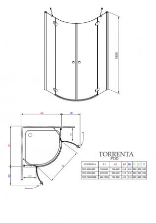 Душевой угол RADAWAY Torrenta PDD 80 31610-01-01