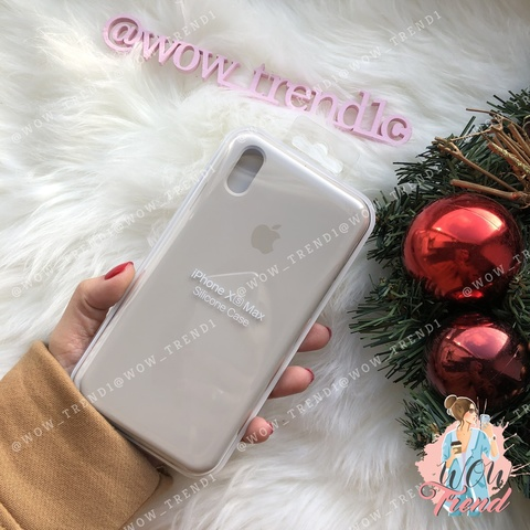Чехол iPhone XS Max Silicone Case /stone/ светло-серый original quality
