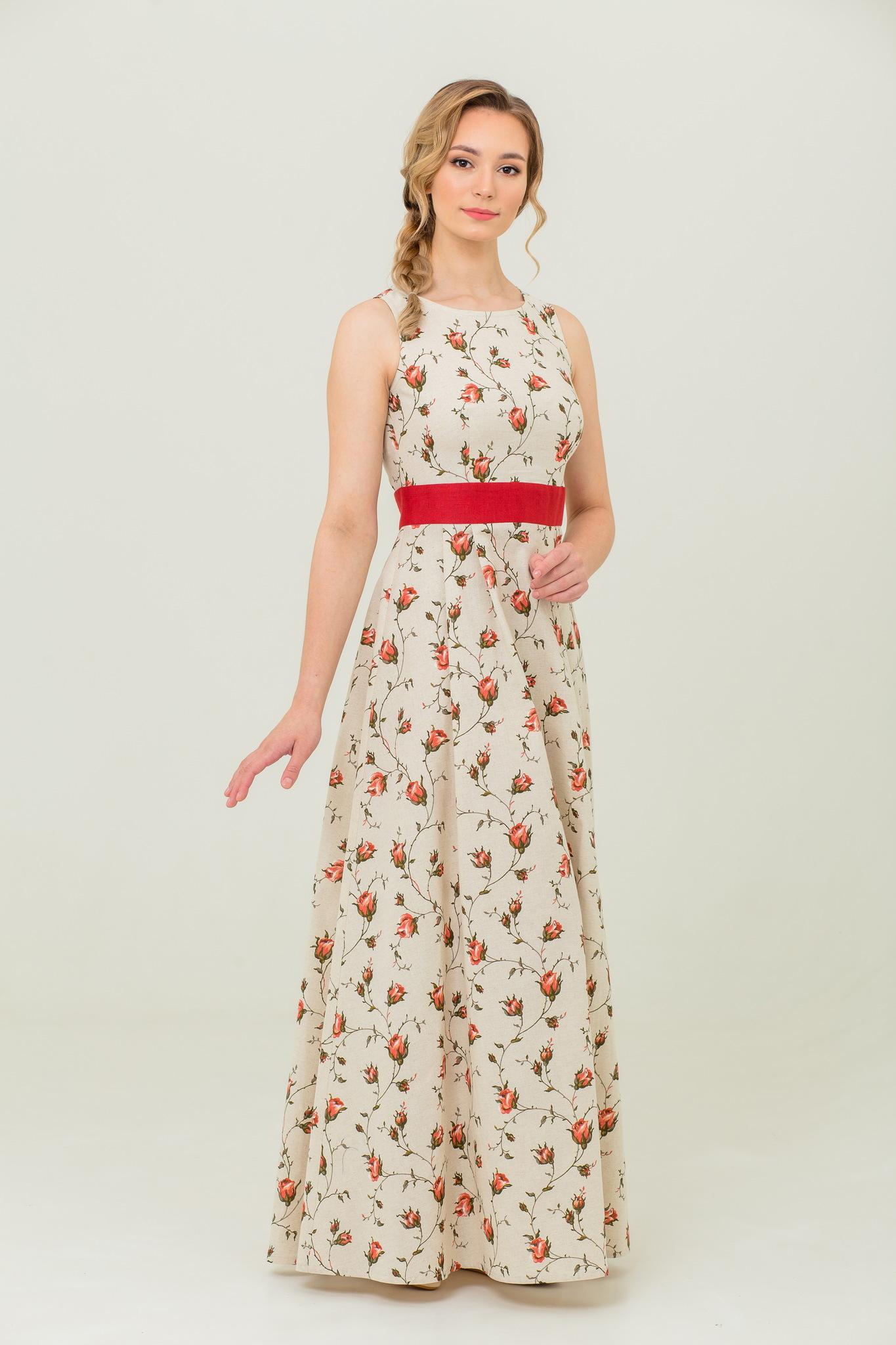 Платье в русском стиле Зайцевская роза