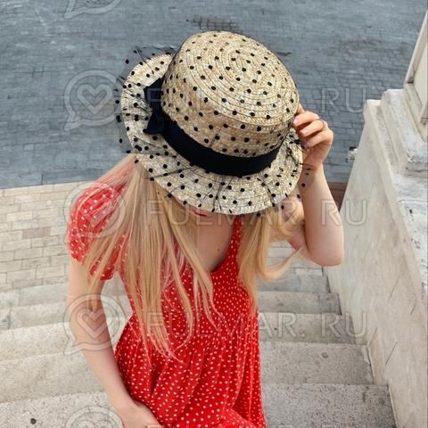 Соломенная канотье женская шляпа с черной лентой сетка в горошек