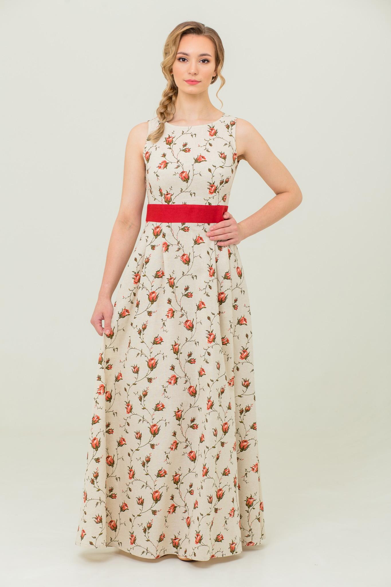 Платье в пол из льна и хлопка Зайцевская роза