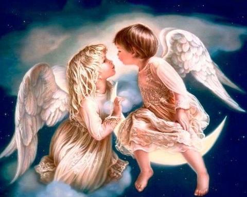 Алмазная Мозаика 40x50 Поцелуй ангелов на облаке (арт. GA70885)