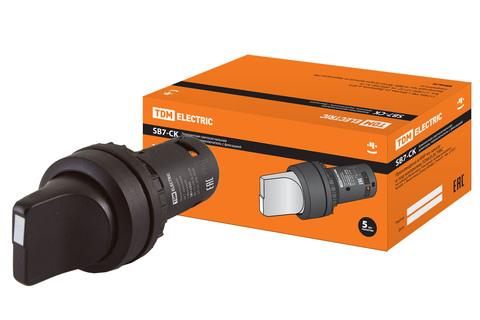 Переключатель на 2 положения с фиксацией SB7-CD25 короткая ручка d22мм 1з+1р черный TDM