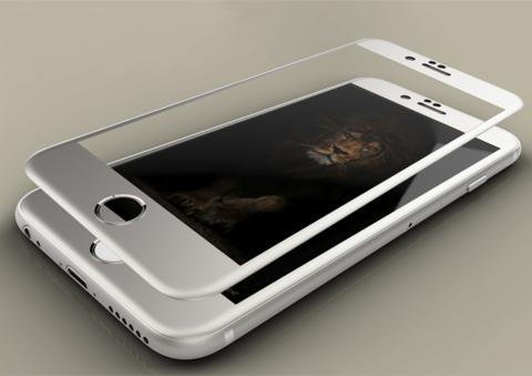 Защитное стекло на весь экран Style c алюминиевой рамкой для iPhone 6 Plus, 6s Plus (Серебристое)
