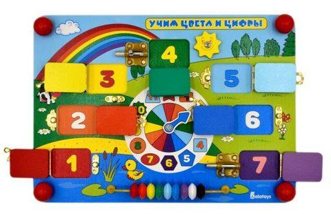 Бизиборд Alatoys Учим цвета и цифры напрокат
