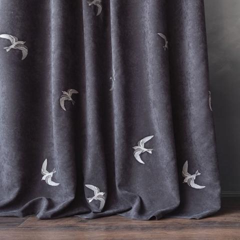 Комплект штор с вышивкой Либретто темный серый