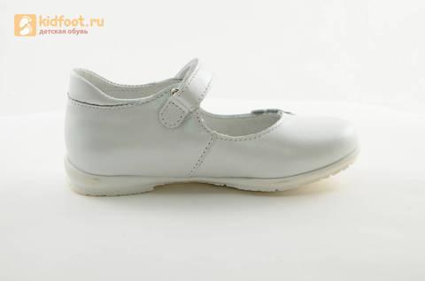 Туфли Тотто из натуральной кожи на липучке для девочек, цвет Белый, 10204A. Изображение 4 из 16.