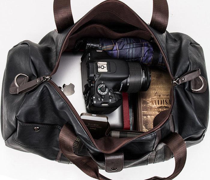 BAG408-3 Вместительная мужская сумка из кожи синего цвета фото 08
