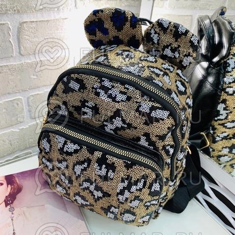 Рюкзак детский в блёстках леопардовый с белым с ушками (25х22х10 см)