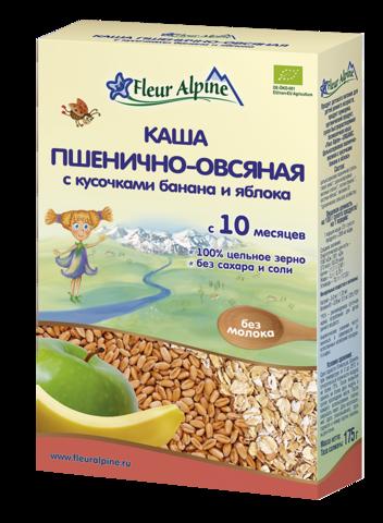 Каша Fleur Alpine Organic пшенично-овсяная с кусочками банана и яблока безмолочная