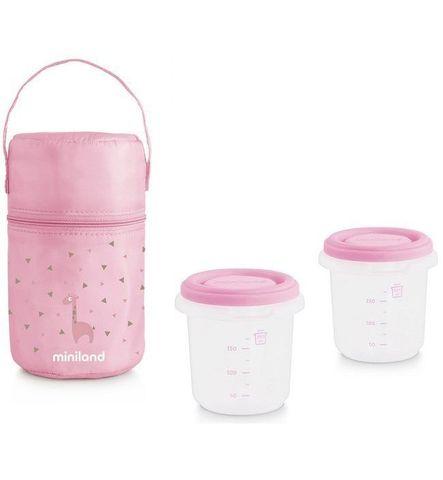 Miniland Термосумка Pack-2-Go HermiSized с двумя вакуумными контейнерами, розовая