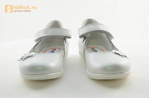 Туфли Тотто из натуральной кожи на липучке для девочек, цвет Белый, 10204A. Изображение 5 из 16.