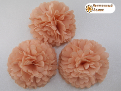 Цветок из ткани персиковый
