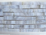 Нить бусин из агата голубого, фигурные, 4x13 мм (цилиндр, граненая)